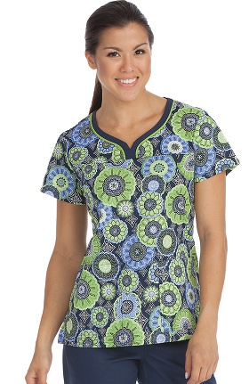 MC2 by Med Couture Women's Lexi Notch Neck Geometric Print Scrub Top