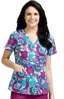 Med Couture Women's Crossover V-Neck Floral Print Scrub Top