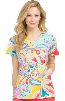 Clearance Med Couture Women's Crossover V-Neck Paisley Print Scrub Top