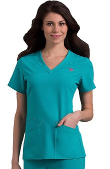 Clearance Med Couture Gold Women's Riviera Solid Scrub Top