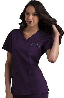 Scrubs new: Med Couture Women's EZ Flex Jr Fit Moda Solid Scrub Top