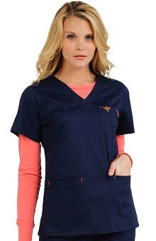 Med Couture Women's EZ Flex Junior Fit Moda Solid Scrub Top