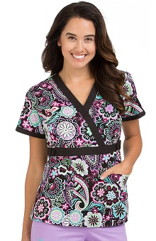 Med Couture Women's Milan Floral Print Scrub Top