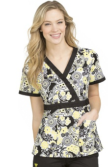 Clearance Med Couture Women's Milan Paisley Print Scrub Top