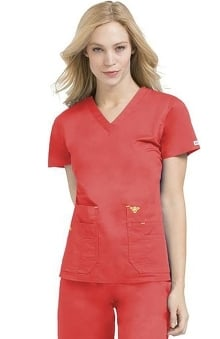 Med Couture Women's Flex It V-Neck Solid Scrub Top