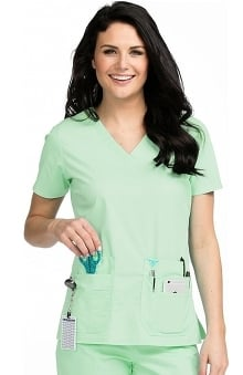 Clearance Med Couture Women's Flex It V-Neck Solid Scrub Top