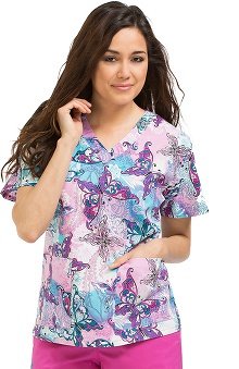 Med Couture Women's Melanie V-Neck 2 Pocket Butterfly Print Scrub Top