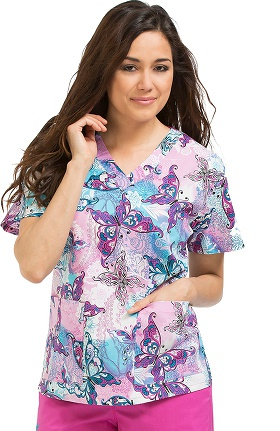 Clearance Med Couture Women's Melanie V-Neck 2 Pocket Butterfly Print Scrub Top