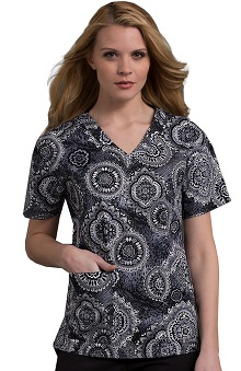 Clearance Med Couture Women's Melanie Paisley Print V Neck 2 Pocket Scrub Top