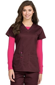 MC2 by Med Couture Women's Olivia V-Neck Solid Scrub Top