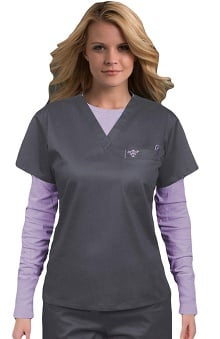 Clearance Med Couture Women's 1 Pocket Solid Scrub Top