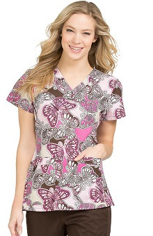 Clearance MC2 by Med Couture Women's Niki V-Neck Butterfly Print Scrub Top