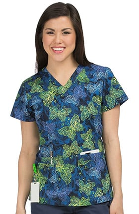 MC2 by Med Couture Women's Niki V-Neck Butterfly Print Scrub Top