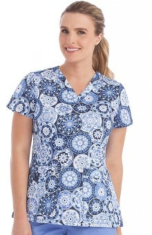 MC2 by Med Couture Women's Niki V-Neck Geometric Print Scrub Top