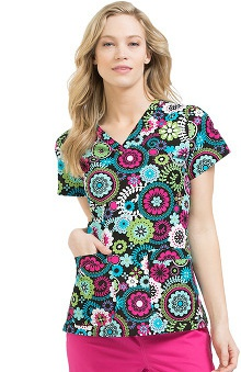 Clearance MC2 by Med Couture Women's Niki V-Neck Medallion Print Scrub Top