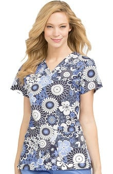Clearance MC2 by Med Couture Women's Niki V-Neck Floral Print Scrub Top