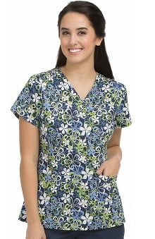 MC2 by Med Couture Women's Niki V-Neck Floral Print Scrub Top