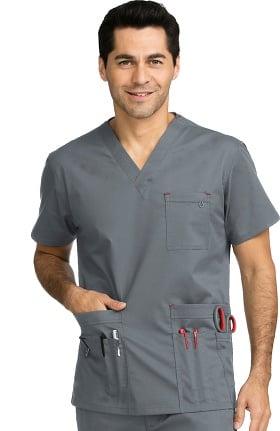 MC2 for Men by Med Couture Men's Tactical V-Neck Multi Pocket Solid Scrub Top