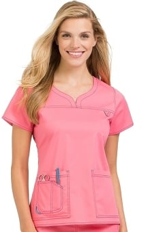 MC2 by Med Couture Women's Lexi Sport Neckline Solid Scrub Top