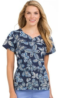 MC2 By Med Couture Women's Lexi Sport Neckline Butterfly Print Scrub Top
