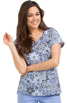 Clearance MC2 by Med Couture Women's Lexi Sport Neckline Botanical Print Scrub Top