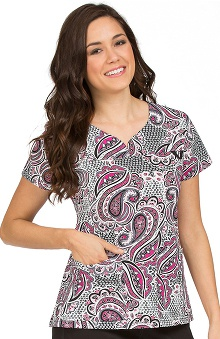 Clearance MC2 by Med Couture Women's Lexi Sport Neckline Print Scrub Top