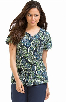 Clearance MC2 by Med Couture Women's Lexi Sport Neckline Paisley Print Scrub Top