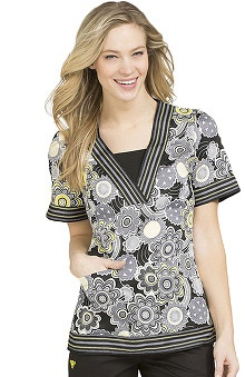Clearance Med Couture Women's Betsey V-Neck Spiral Print Scrub Top