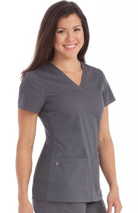 MC2 by Med Couture Women's Everyday V-Neck Solid Scrub Top