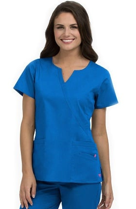 Med Couture Women's Monica Mock Wrap Notch Neck Solid Scrub Top