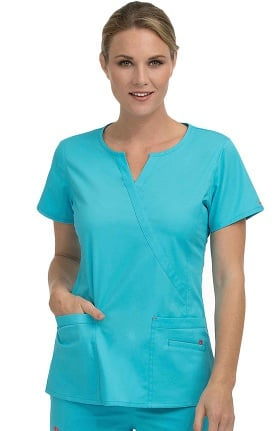 Clearance Med Couture Women's Monica Mock Wrap Notch Neck Solid Scrub Top