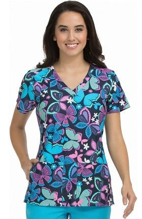 Activate by Med Couture Women's V-Neck Butterfly Print Scrub Top