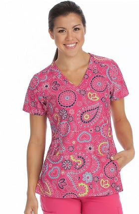 Activate by Med Couture Women's V-Neck Paisley Print Scrub Top