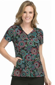 Activate by Med Couture Women's V-Neck Geometric Print Scrub Top