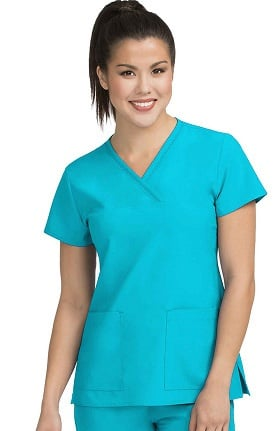 Clearance Activate by Med Couture Women's Fluid Y-Neck Solid Scrub Top