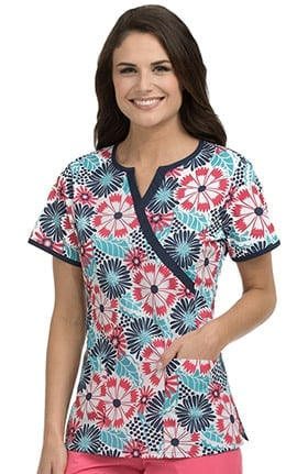 Med Couture Women's Mock Wrap Floral Print Scrub Top