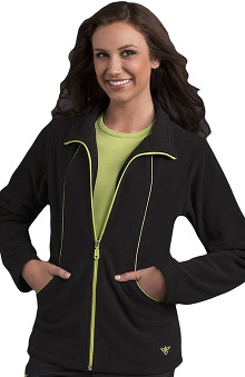 Clearance Med Couture Women's Fleece Solid Scrub Jacket