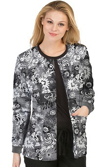 Med Couture Women's Zip Front Floral Print Warm Up Scrub Jacket