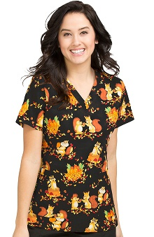 Clearance Peaches Uniforms Women's Anna Autumn Print Scrub Top