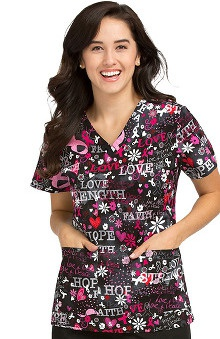 Peaches Uniforms Women's Anna Bca Print Scrub Top