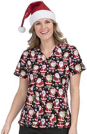 Med Couture Women's Anna V-Neck Santa Print Scrub Top