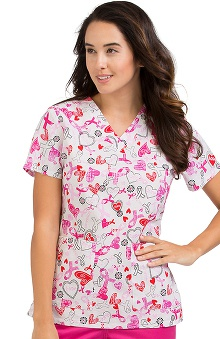 Clearance Peaches Uniforms Women's Anna Breast Cancer Awareness Print Scrub Top