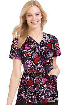 Clearance Peaches Uniforms Women's Anna Heart Print Scrub Top