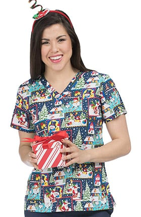 Med Couture Women's Anna V-Neck Snowman Print Scrub Top