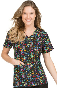 Clearance Peaches Uniforms Women's Anna Print Scrub Top