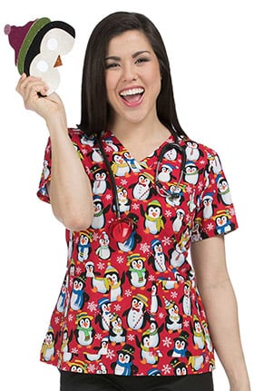 Med Couture Women's Anna V-Neck Penguin Print Scrub Top