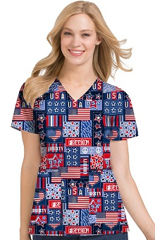 Clearance Peaches Uniforms Women's Anna USA Print Scrub Top