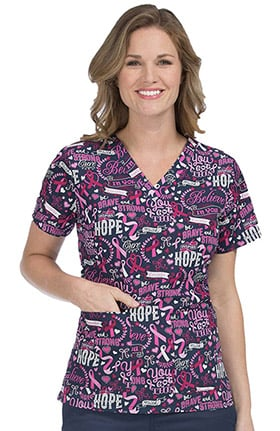 Med Couture Women's Anna V-Neck Breast Cancer Awareness Print Scrub Top