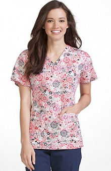Clearance Peaches Uniforms Women's Anna Flower Print Scrub Top