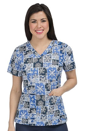 Med Couture Women's Anna V-Neck Snowflake Print Scrub Top